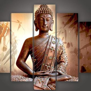 100% Handmade Large Canvas Modern Thailand Buddha Oil Painting classic Wall Art Decor pictures for home decoration 5 multi panel