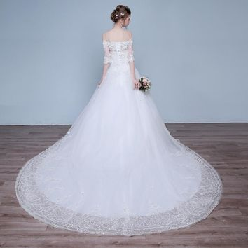 Lace Flower Off Collar Train Elegant Wedding Dresses Luxury Trailing Bride Gowns Wedding Gown