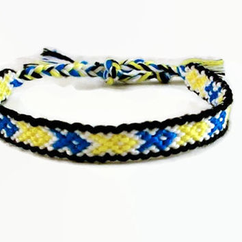 Bordered Boston Strong Embroidery Macrame Friendship Bracelet, Boston Strong Awareness Bracelet