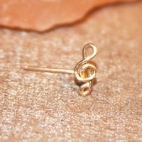 Treble Clef Nose Stud, Lobe Earrings, Music Cartilage Stud, tragus cartilage Stud, Tiny Gold Nose Ring, Tiny Nose Ring, Nose Jewelry