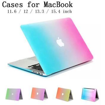 New Rainbow shell case cover for Apple Macbook Air Pro Retina 11.6 12 13.3 15.4 inch laptop Cases For Mac book bag,SKU0132C