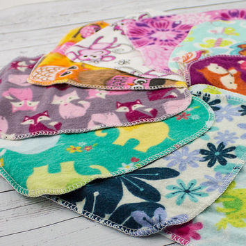 Cloth Wipes or Washcloths - Assorted Girl Prints - Reusable, Eco-Friendly - Set of 30