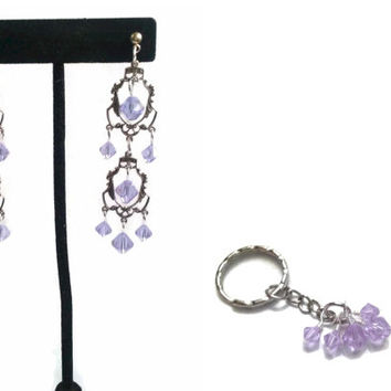 """Chandelier Earrings with Swarovski Alexandrite Color Changing Crystals - 2.85"""" - Free Matching Keychain"""
