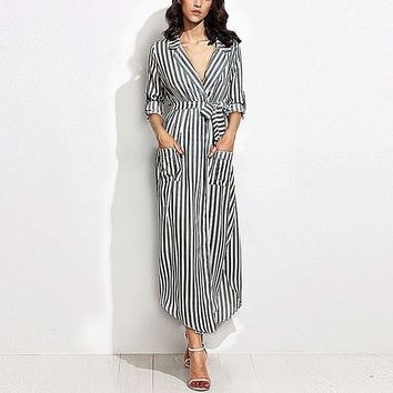 Casual Black White Striped Long Maxi Women Shirt Dress Ladies Sexy Lapel Long Sleeve Evening Party Split Dresses Vestidos