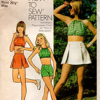 Simplicity 70s Sewing Pattern 5582 Cropped Halter Top Belly Shirt Short Skirt Summer Fashion Retro Boho Hippie Style Uncut Bust 34