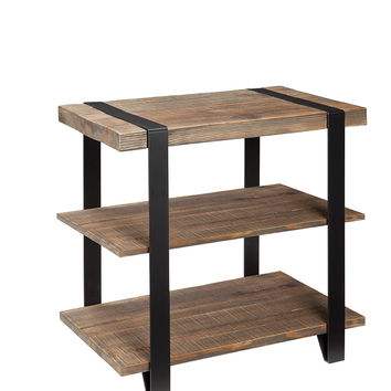 Foxford Reclaimed Wood and Metal End Table With Shelves