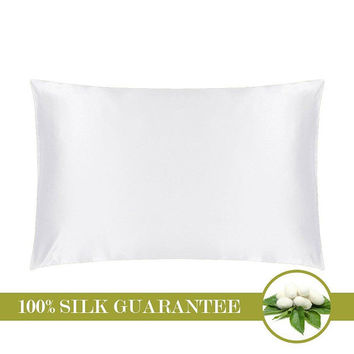 Natural Silk Pillowcase Both Sides 19 Momme 100% Pure Mulberry Silk  Queen Size 20 x 30 inches (51 cm x 76 cm) Ivory Natural White