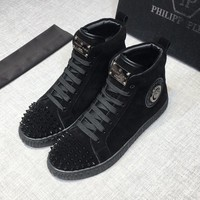 Philipp Plein Men Black Hi-Top Sneakers - Best Deal Online