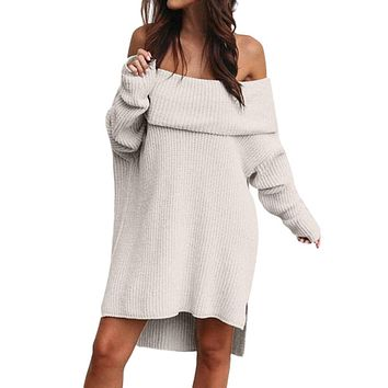 2018 Winter Women Knitted Dresses Autumn Sexy Bodycon Off Shoulder Long Sleeve Party Club Mini Dress