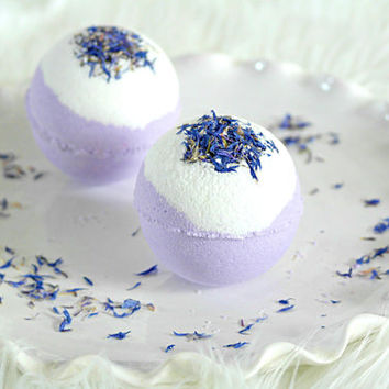 Lavender Bath Bomb, Essential Oil Bath Fizzy, Purple Bath Bomb, Rosehip Seed Oil, Bath Bomb with Botanicals, Handmade, 5 oz