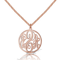Personalized 925 Sterling Silver Fancy Monogram Necklace Custom Made Any Letters