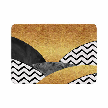 "Zara Martina Mansen ""Chevron Hills"" Gold Black White Memory Foam Bath Mat"