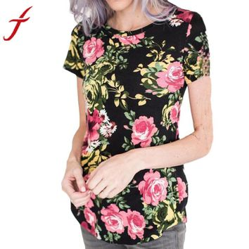 Womens Summer T-Shirt Sexy Print Short Sleeve Tops Tee Frida Kahlo 2017 Flower Printed Casual Shirts