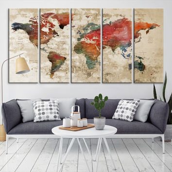 43193 - Large Wall Art World Map Canvas Print- Custom World Map Push Pin Wall Art- Custom World Map Canvas Poster Print- Personalized Wall Art