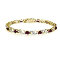 18K Gold Plated 6.6ct Created Ruby & Diamond Accent Infinity Bracelet, 7.5""