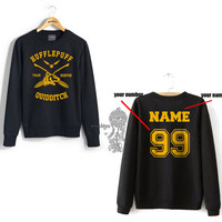 KEEPER - Custom back Hufflepuff Quidditch team Keeper YELLOW front Black Crew neck Sweatshirt