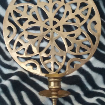 A Set of Two Gorgeous Vintage Round Brass Candle Holder Wall Sconce With Filigree Scroll Design