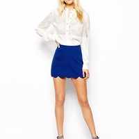 ASOS Mini Skirt With Scallop Hem - Cobalt