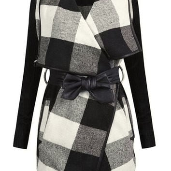 Cupshe Black And White Plaid Coat