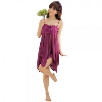 Strapless Sling Lace Chest Design Babydoll Sleepwear with T-back Purple