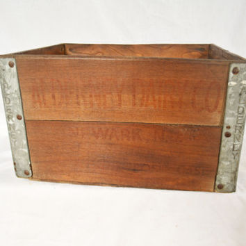 Vintage Milk Crate, Alderney Milk Crate, Rustic Storage, Dairy Farm Milk Carton, 1936 Milk Carrier, Wood and Metal Crate