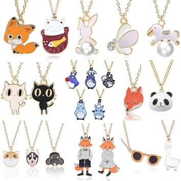 DIY Cartoon Enamel Dragon Bird Fox Rabbit Pendant Chinchilla Cat Necklace For Women Kawaii Animal Family Choker Jewelry Collares