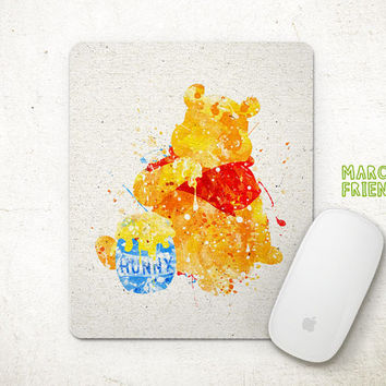 Winnie the Pooh Mouse Pad, Disney Watercolor Art, Mousepad, Home Art, Gifts Idea, Art Print, Desk Decor, Disney Accessories