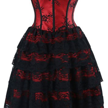 Atomic Red Floral Victorian Lace Corset Dress
