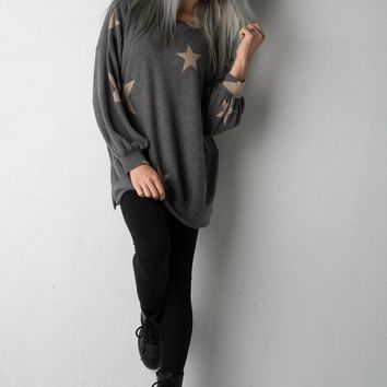 Charcoal Star Print Long Sleeve Top