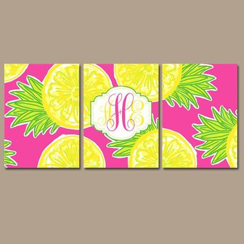 MONOGRAM Wall Art, Pineapple Decor, Yellow Hot Pink Lime, Monogram Wall Decor, Lilly Baby Girl Nursery, CANVAS or Print, Set of 3 Bathroom