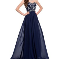 Simpledress Vintage Blue Floral Beading Strapless Corset Floor Length Prom Dress