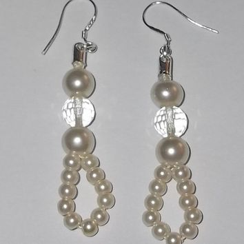 Ivory Glass Pearl & Clear Swarovski Crystal .925 Sterling Silver Artisan Crafted Wedding  Formal Prom Drop Dangle Earrings