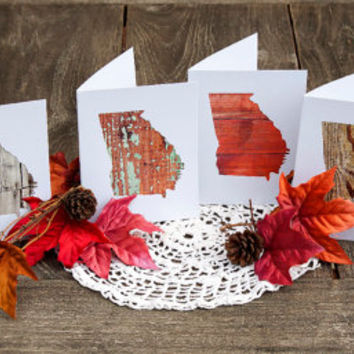 Georgia or any US state shape map cutout wood photography note cards .Box/12. Housewarming Wedding Bridal Shower Thank You Teacher Gift