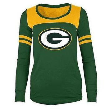 Green Bay Packers T-Shirt Women's NFL Long Sleeve Hang Time Glitter T-Shirt