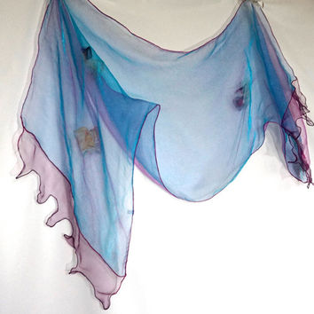Vintage Scarf or Stole, Organza Scarf,Formal Evening Wrap,Iridescent Sheer Scarf,Dressy Scarf,Lightweight Scarf,Wedding Shawl,Unusual Scarf