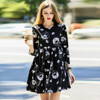 Black Floral Print Long Sleeve Mini Dress
