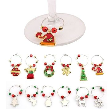1 Set Christmas Cup Ring Wine Glass Decoration New Year Cup Ring Table Decorations Xmas Pendants