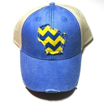 Wisconsin Trucker Hat - Royal Blue Distressed Snapback - Royal and Yellow Chevron