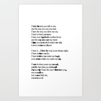 10 Things i Hate About You - Poem Art Print by amy.