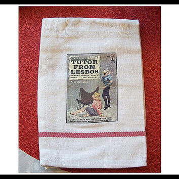 lesbian pulp dish towel retro vintage paperback art pin up girl kitsch sleaze