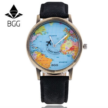 BGG Women Watches Dress Relogio Montre Clock Men World Map Design PU Leather Band Analog Quartz Watch CF