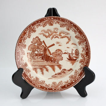 Ironstone Plate / Scenery and Botanical Transfer Ware / Japan