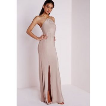 Slinky Necklace Trim Maxi Dress Taupe - Dresses - Maxi Dresses - Missguided