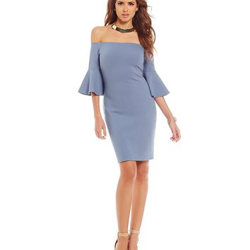 Gianni Bini Fan Fav Pamela Off-the-Shoulder Bell Sleeve Sheath Dress | Dillards