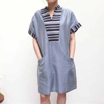 mixed material thai silk linen stripe collar dress