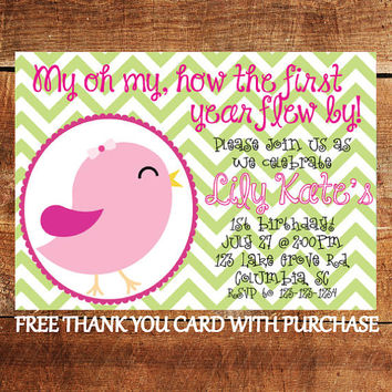 Bird 1st Birthday Invitation - Chevron First Birthday Invite with FREE Thank You Card