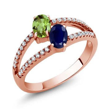 1.46 Ct Green Peridot Blue Sapphire Two Stone 18K Rose Gold Plated Silver Ring