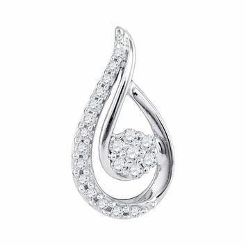 10kt White Gold Women's Round Diamond Teardrop Cluster Pendant 1-4 Cttw - FREE Shipping (US/CAN)