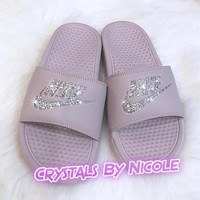 Bedazzled Crystal Nike Slides In Mauve Pink
