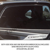 Chevy Camaro Side View, Rear View Mirror Vinyl Decal Accents for 2010-2014 Models